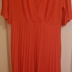 ASOS Tangerine pleated dress